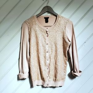 ANN TAYLOR Champagne Sequin Cardigan Sweater